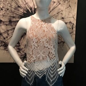 Express lace racer back top